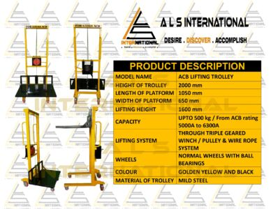 ACB LIFTING TROLLEY FOR ACB RATING 5000A & 6300A